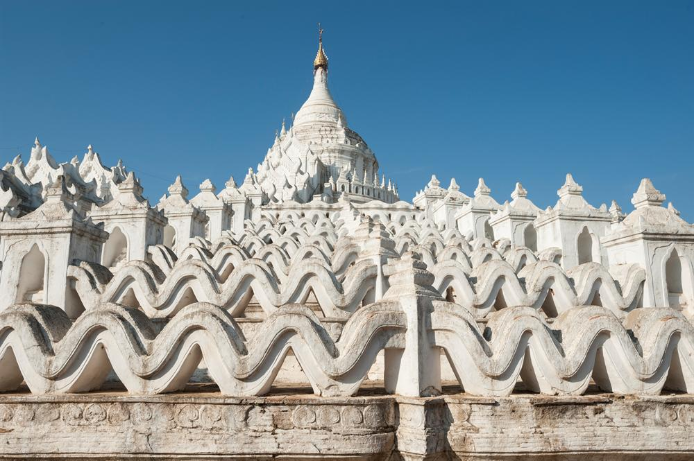 white wave-shaped steps of the Hsinbyume Pagoda