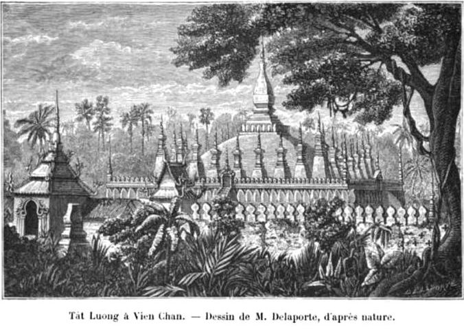 Print from a drawing by a French explorer and artist Louis Delaporte of the temple Pha That Luang