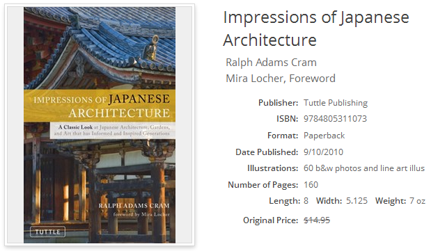 Impressions of Japanese Architecture; ISBN 9784805311073