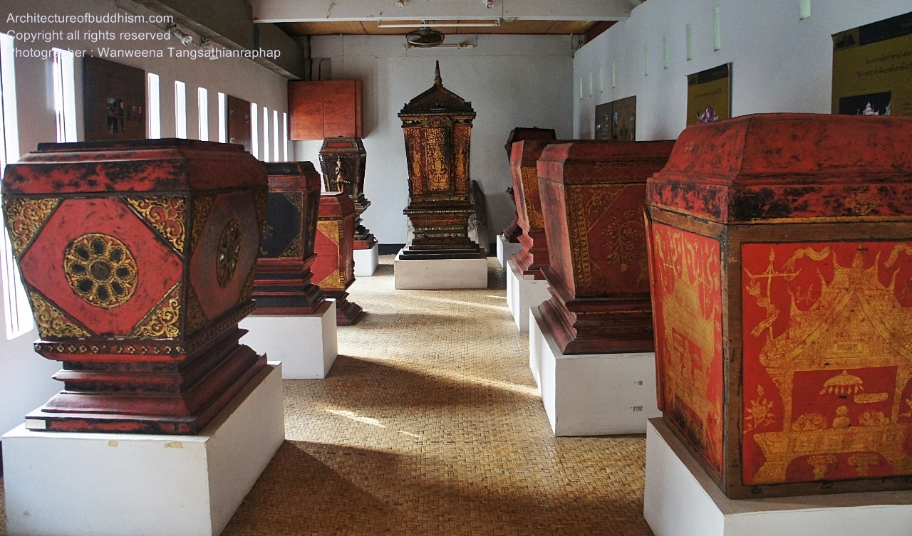 The chests in various sizes and designs inside the temple hall.