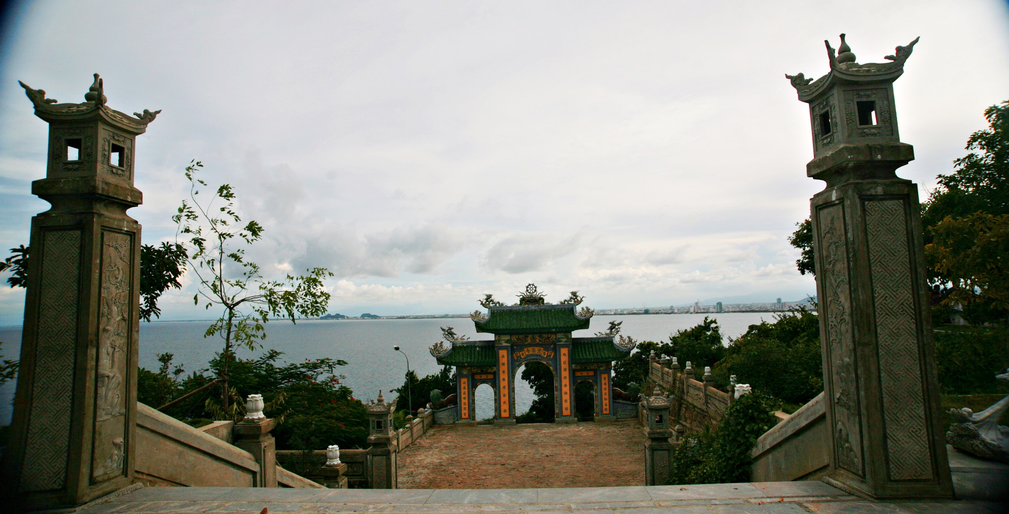 views down to the sea at Linh Ung Pagoda, Vietnam