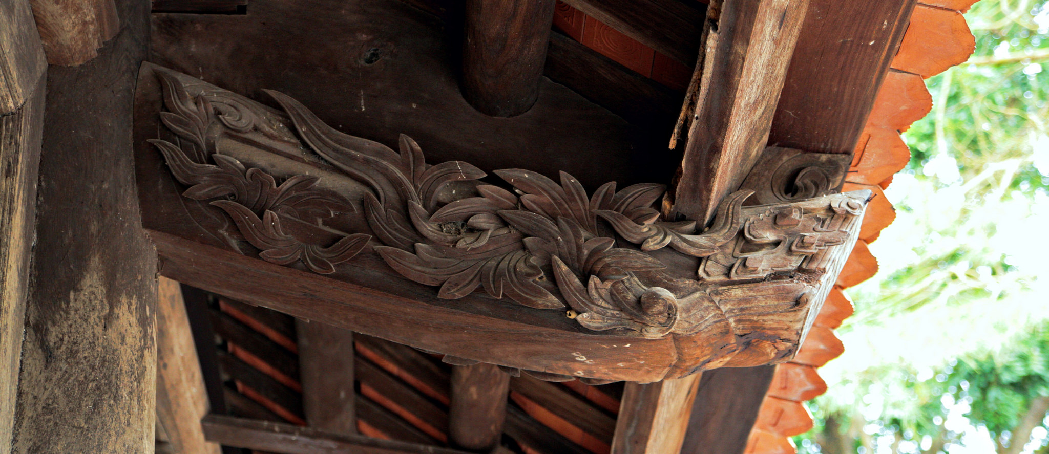 Beautiful carving at Duc La Pagoda, Vietnam