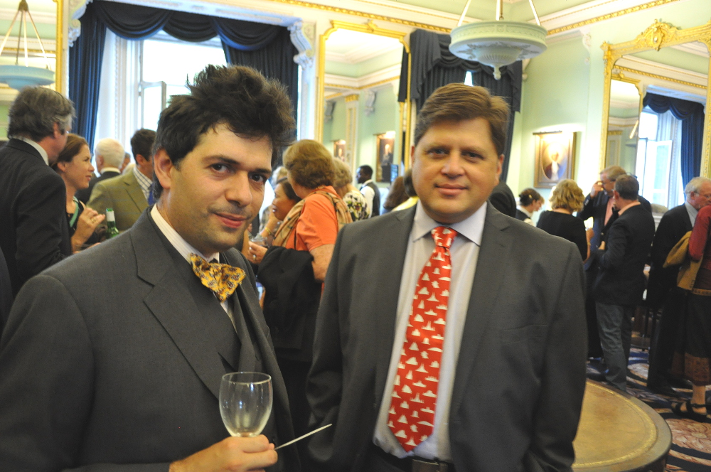 Vikram Lall sporting a special Golden Lands tie! With Bijan Omrani, author of the Odyssey guide to Afghanistan and also Iran (odysseypublications.com)