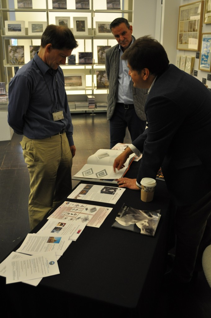 Vikram Lall discussing the Golden Lands book with Dr Clarke of the SE Asian Dept of the V&A