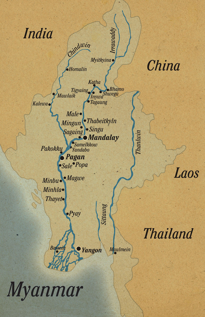 Myanmar rivers map, Copyright Pandaw River Expeditions