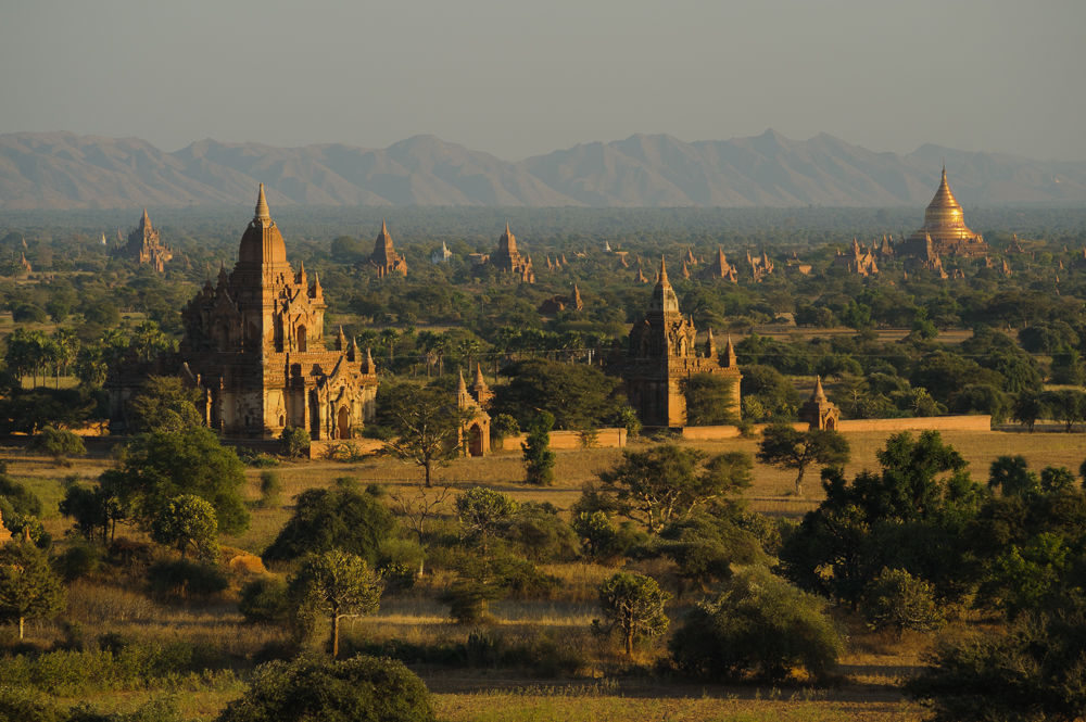 The pagoda-filled landscape at Bagan, Myanmar - photographed by Marc Schlossman for The Golden Lands
