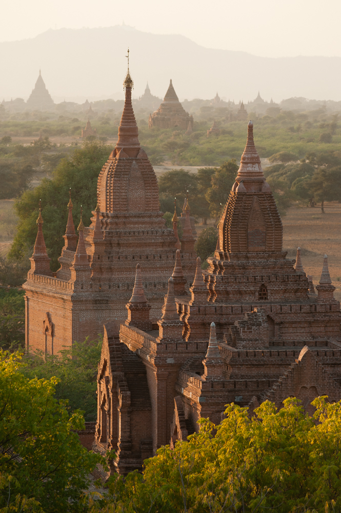 Sunset seen from Dhamma-Yazika Pagoda (Dhammayazika), Bagan, Myanmar (Burma) - photographed by Marc Schlossman for The Golden Lands